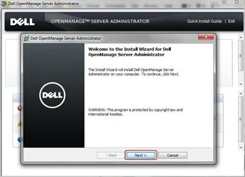 Dell OpenManage Server Administrator向导随之出现,单击Next(下一步)